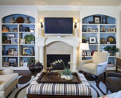 built-ins: Living Rooms, Idea, Built In, Dreams, Blue Shelves, Fireplaces, Colors, Blue Backgrounds, Bookca