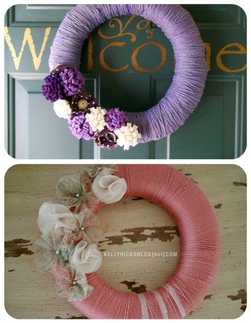 50 Beautiful Yarn Craft Tutorials {yarn wreaths, pom poms, decor} - Tip Junkie