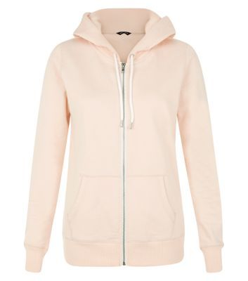 Shell Pink Basic Zip Front Hoodie