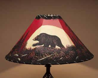 "Southwestern Painted Leather Lamp Shade 20"""" - Moonlit Bear (PL34)"