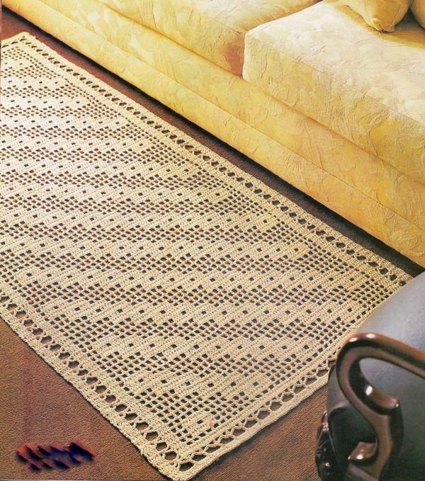 Tapetes em crochê para decorar a sala de jantar - Tapetes e Cortinas  | Tapete-em-Croche-Para-a-Sala-de-Estar-Belo