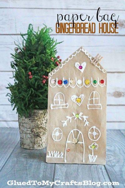 Paper bag Gingerbread House - Christmas Kid Craft Idea