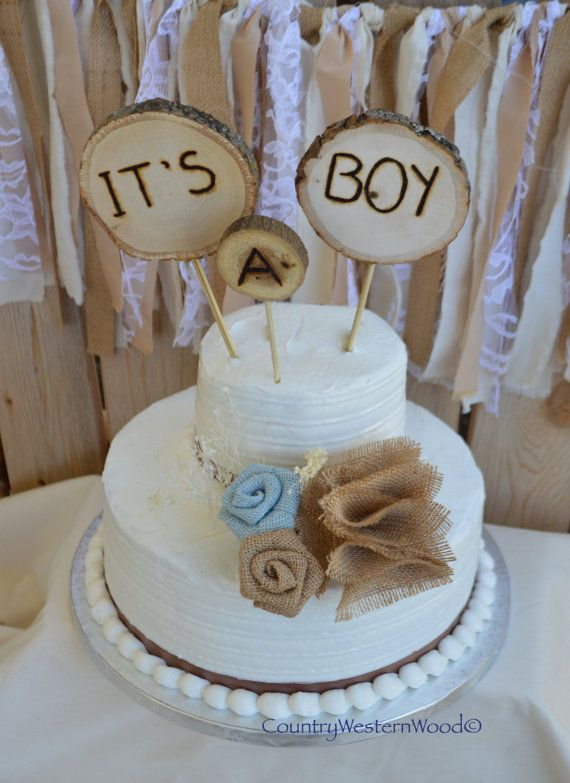Rustic Cake Topper, Baby Shower Cake Topper, Burlap Cake Topper, Wood Cake  Topper, Itu0027s A Boy Cake Topper, Rustic Baby Shower