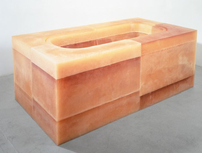"Rachel Whiteread Untitled (Orange Bath) 1996 Rubber and polystyrene 80 x 207 x 110 cm    31½ x 81½ x 43¼"" Exhibited at the Saatchi Gallery"