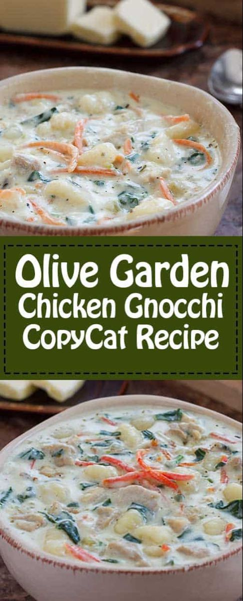 Mar 26, 2020 – The best creamy Olive Garden Chicken Gnocchi Soup with Veggies copycat recipe. Make it on the stovetop or…