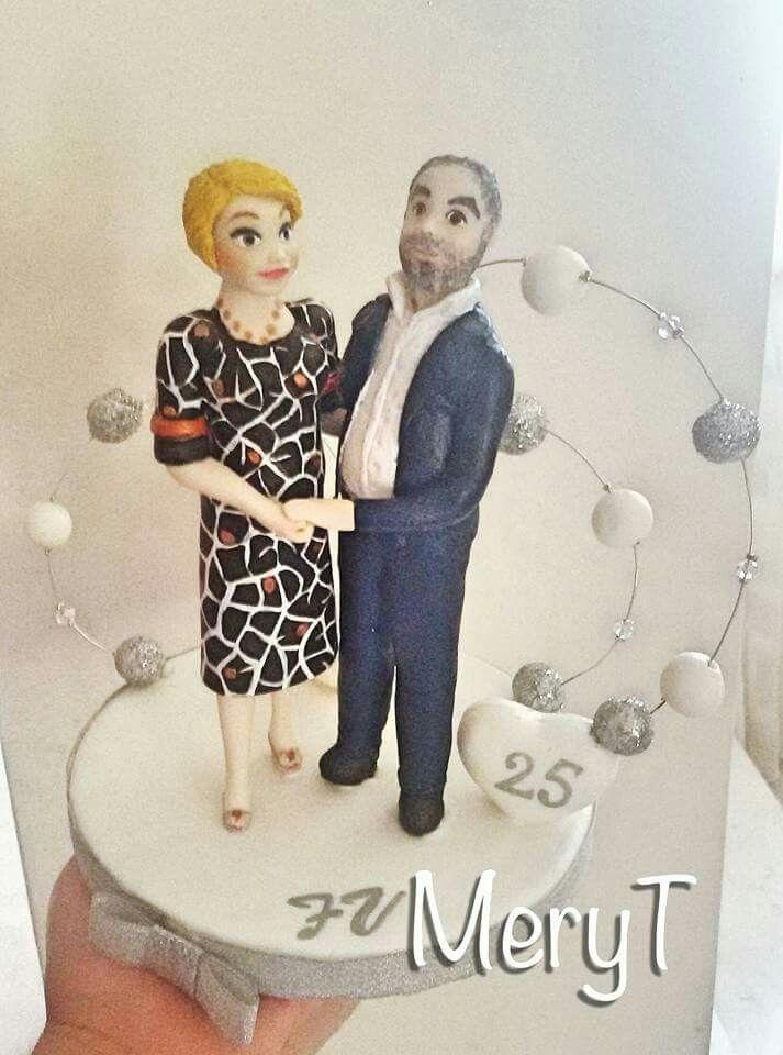 Cake topper 25 anniversario matrimonio