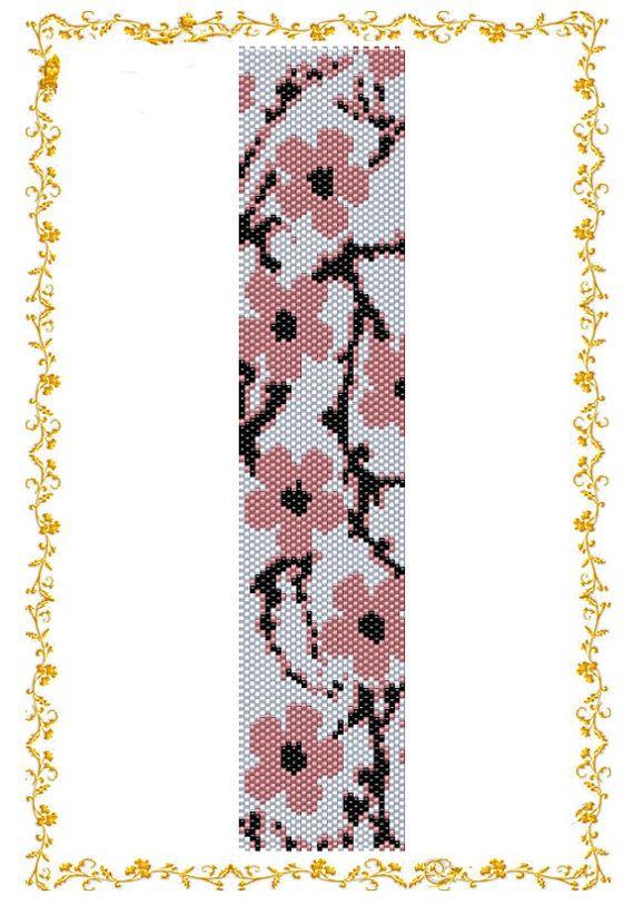 Modèle perles Bracelet « Sakura ». Même pas compter point peyote. Modèle de perle de graine. Téléchargement immédiat. Patron PDF.