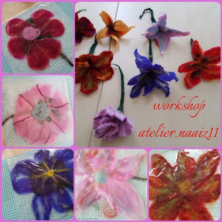 Workshop bloem vilten atelier.naaiz11 voor oudercontactmiddag op de Dr  Dreesschool.