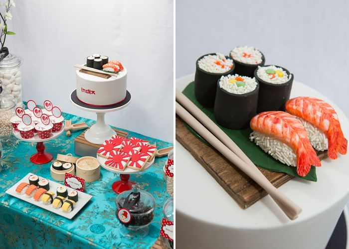 Sushi Dessert Spread. Styled by Melissa from The Sweet Society. Photography by Casamento Photography. Cake, cupcakes & sushi cake pops: Cake Envy. Cookies: Sweetcheeks Cookies & Cakes Paperie: Kutzy Party Boutique