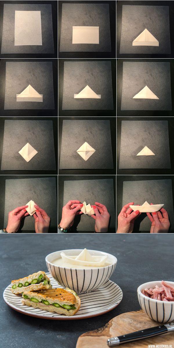 Weleens een origamibootje gevouwen van filodeeg. Zo maak je de soep voor je kinderen extra spannend. Op www.moodkids.nl lees je hoe je ze maakt. Plus een recept voor heerlijke aspergesoep met een tosti met asperges.