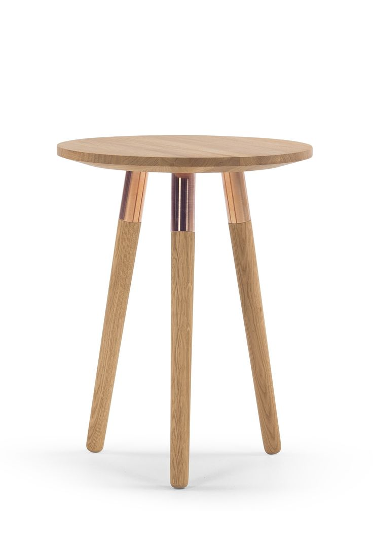 The Range Side Table, in Oak and Brass. A design by Josie Morris, with striking metallic accents. £159. MADE.COM