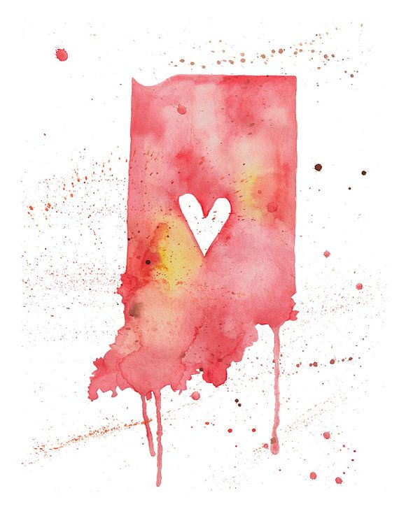 Indiana Love by poppyandpinecone on Etsy, $12.00 For the guy who is far from his home state