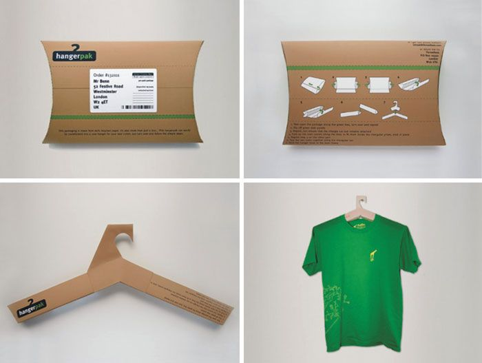 T-shirt package turning into a hanger