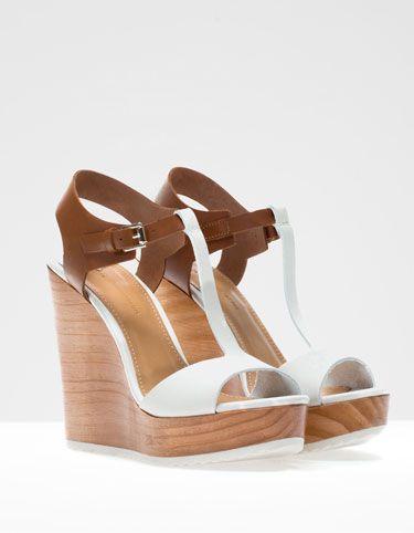 (Stradivarius) Chaussures compensées bicolores cuir