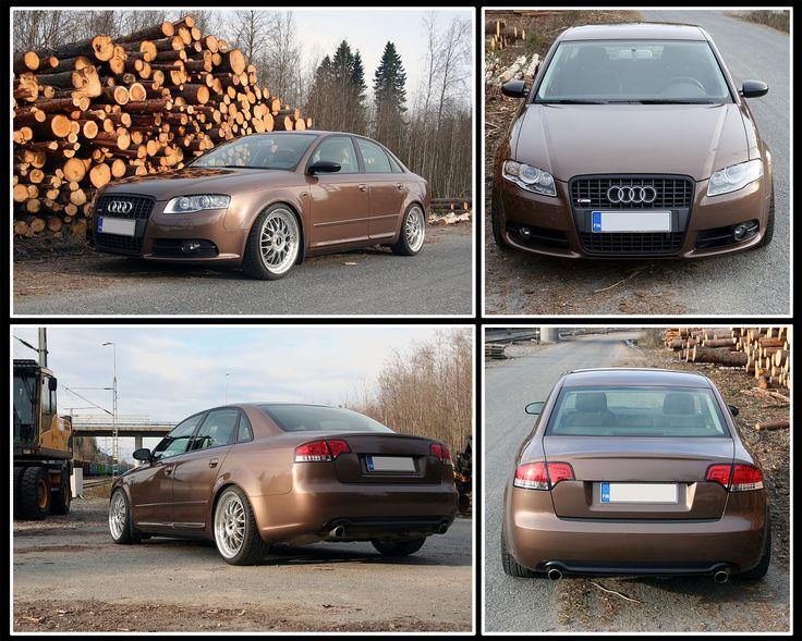 Brown metallic vinyl wrapped Audi A4 with BBS wheels http://shop.eteippi.fi/ #Audi #A4 #BBS