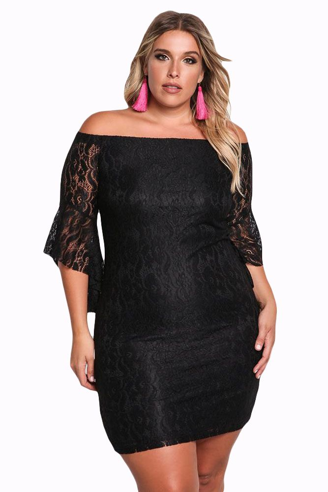 c9bc89d75cb Black Plus Size Off Shoulder Lace Bodycon Dress