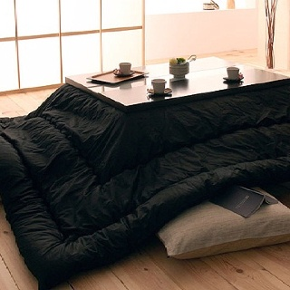 A Japanese Kotatsu Is A Low, Wooden Table Frame Covered By A Futon, Or  Heavy Blanket, Upon Which A Table Top Sits. Underneath Is A Heat Source,  Oftu2026
