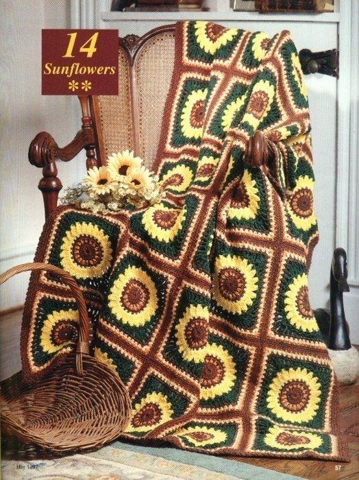 Crochet Knitting Handicraft:  Sunflowers Afghan