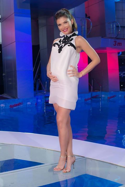 Lovely Alina Puscas wearing Parlor Zebra dress on set for Splash- vedete la apa #parlordress #parlorstudio