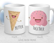 Great inspiration for kawaii mugs for you and your significant other, or your best friend!