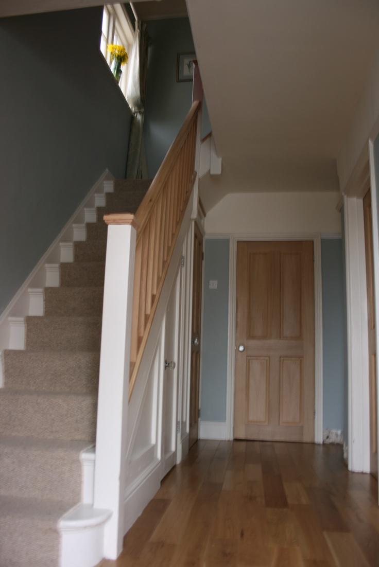 View to the kitchen door. Oak floor, Farrow and Ball Light Blue on walls, slipper satin on Woodwork