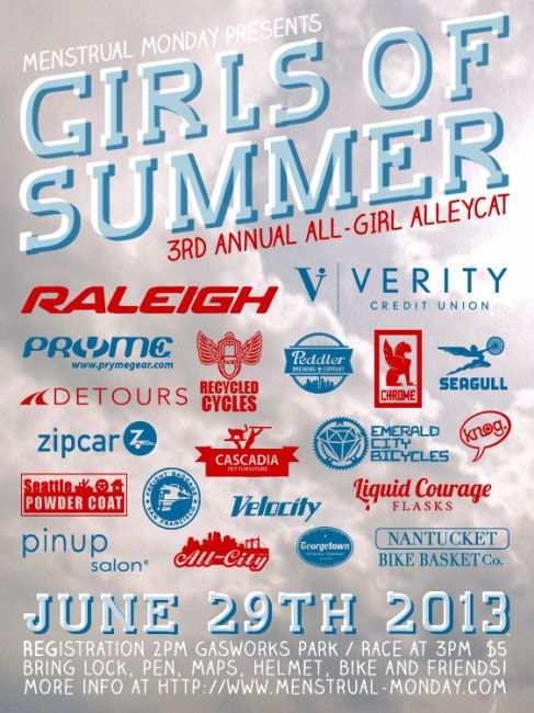 Knog is proud to sponsor the 3rd annual all girl 'Girls of Summer' alleycat, weaving through the city streets of Seattle on June 29th. For registration and full race details then hit up the link below -http://menstrual-monday.com/blog/girls-of-summer-2013/
