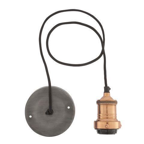 Vintage Lamp Shade Cord Set ES E27 Bulb Holder - Copper & Fabric Flex
