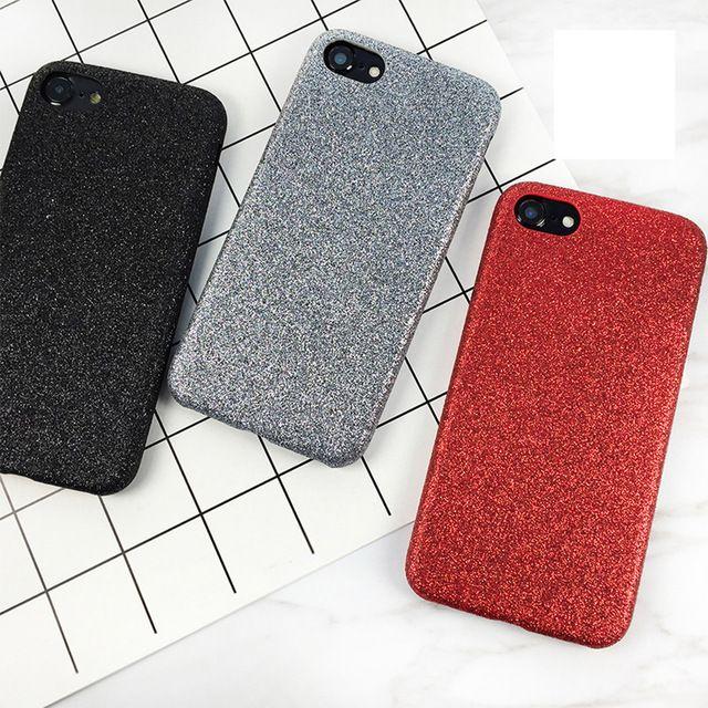 LOVECOM Телефон Case Для iphone 6 6s 7 Плюс Новые в китае Красный Сплошной Цвет Порошок Блеск Soft Phone Обложка случаях