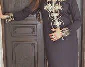 10 % de réduction de l'été / / noir marocain Caftan caftan - Aisha-parfait comme la fête des mères cadeau, détente, resortwear, robe de spa, les anniversaires, lune de miel