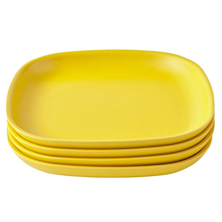 Shop Yellow Gusto Side Plates (Set of 4).  Made from bamboo, the stackable Gusto side plates are the perfect mealtime companions.  Not only are they available in a variety of colors, but they're also free of BPA, PVC, and Phthalates.