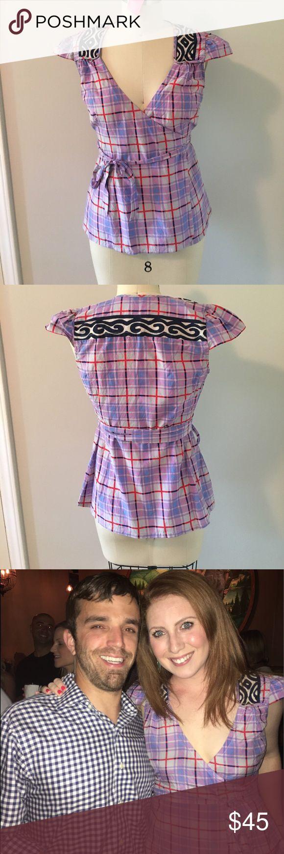 Plenty by Tracy Reese wrap top So flattering! Fun and funky pattern Plenty by Tracy Reese Tops Blouses