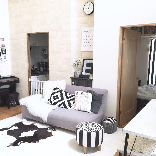 mimi6996さんの、Lounge,IKEA,Francfranc,北欧,白黒,モノトーン,ホワイト×ウッド,ホワイト,セルフペイント,白黒グレー,連投すみません,グリーンのある暮らし,こどもと暮らす。についての部屋写真