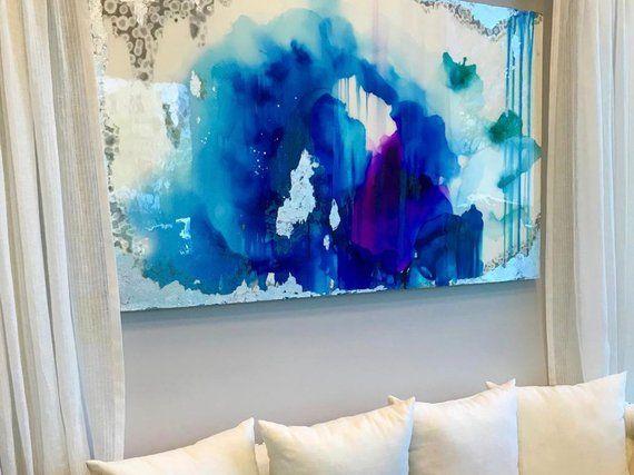 Vendu Acrylique Abstrait Art Grande Toile Peinture Silver