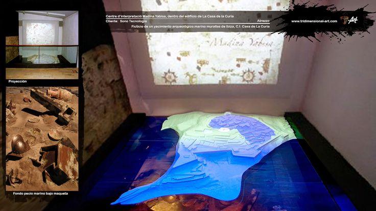 Efectos visuales alternando proyección de imágenes sobre maqueta de la ciudad y la escenografía del fondo marino oculto bajo el cristal.