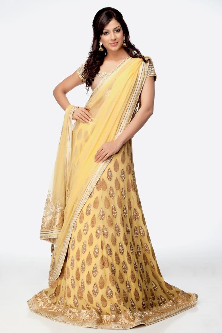 Light Yellow Lehenga Saree - Lehenga Sarees and Half sarees have captured the Indian fashion world