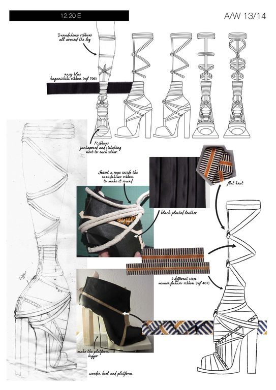 Fashion Portfolio - footwear design sketches, fabric manipulation & development - layout; fashion sketchbook // Geraldine Delemme