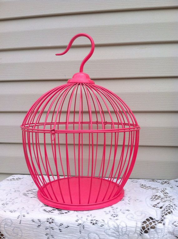 "Hot Pink Round Bird Cage / Table Top 18"" Tall / Girls Room"