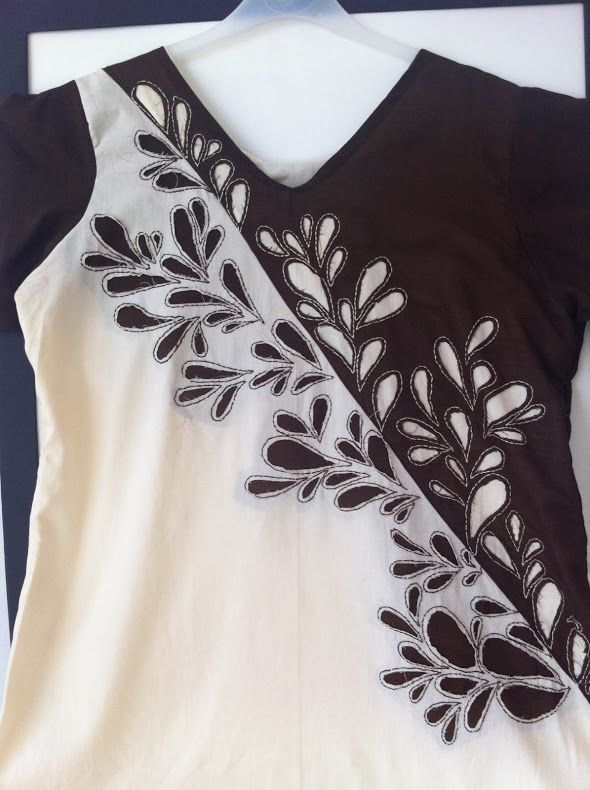 """This is my first attempt at reverse appliqué and I found it extremely easy and hassle free thanks to this tutorial. This tunic too is made in parts, we will partly sew the dress, appliqué and then finish of the dress."""
