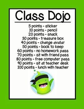 Class Dojo Reward Chart (green)