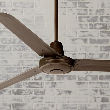 "Who said celing fans couldn't be stylish? Get inspired in your search for the perfect, industrial and modern fan. This will keep you cool and is 60"" Casa Vieja Turbina™ Oil-Rubbed Bronze Ceiling Fan. It looks great in an industrial space such as against this white brick, the metal finish to the fan adds a sense of quality."