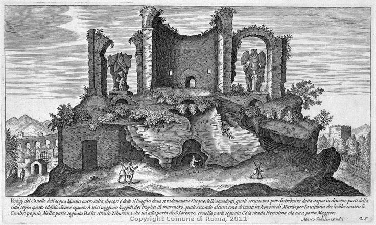 """Resti del ninfeo monumentale detto """" Trofei di Mario""""E. Sadeler II, acquaforte,1600-1650"""""""