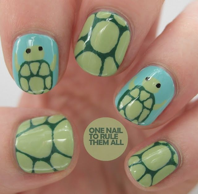 Cute turtle nail art. I love turtles! This might be a bit young for myself, but I would love this on the little girls. :)