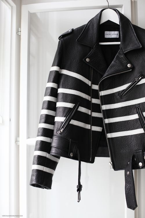 Black, white-striped leather jacket | @andwhatelse