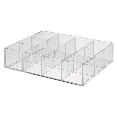 Stapelbare Acrylbox mit Unterteilungen