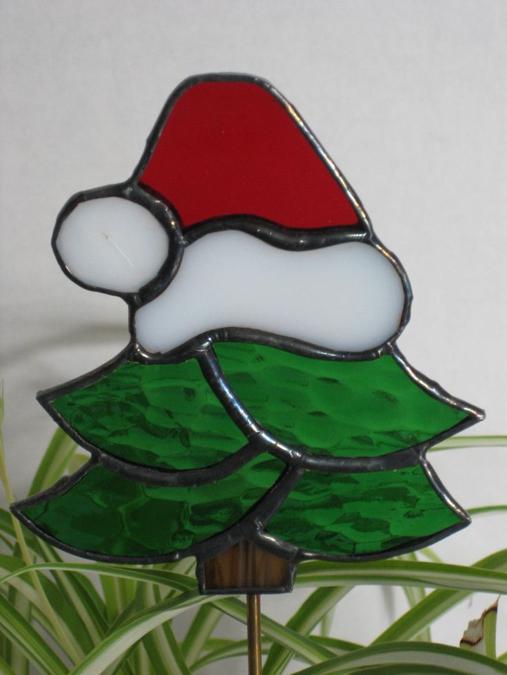 Stained Glass Christmas Tree Plant Stake, Silly Christmas Tree, Garden Stake, Christmas Decoration. $17.00, via Etsy.