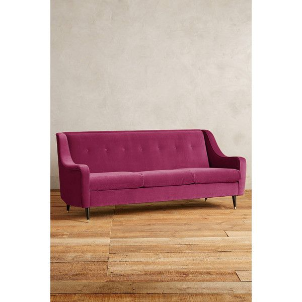 Anthropologie Velvet Adrie Sofa (€1.965) ❤ liked on Polyvore featuring home, furniture, sofas, blossom, velvet sofa, flower stems, anthropologie furniture, anthropologie sofa and hand made furniture