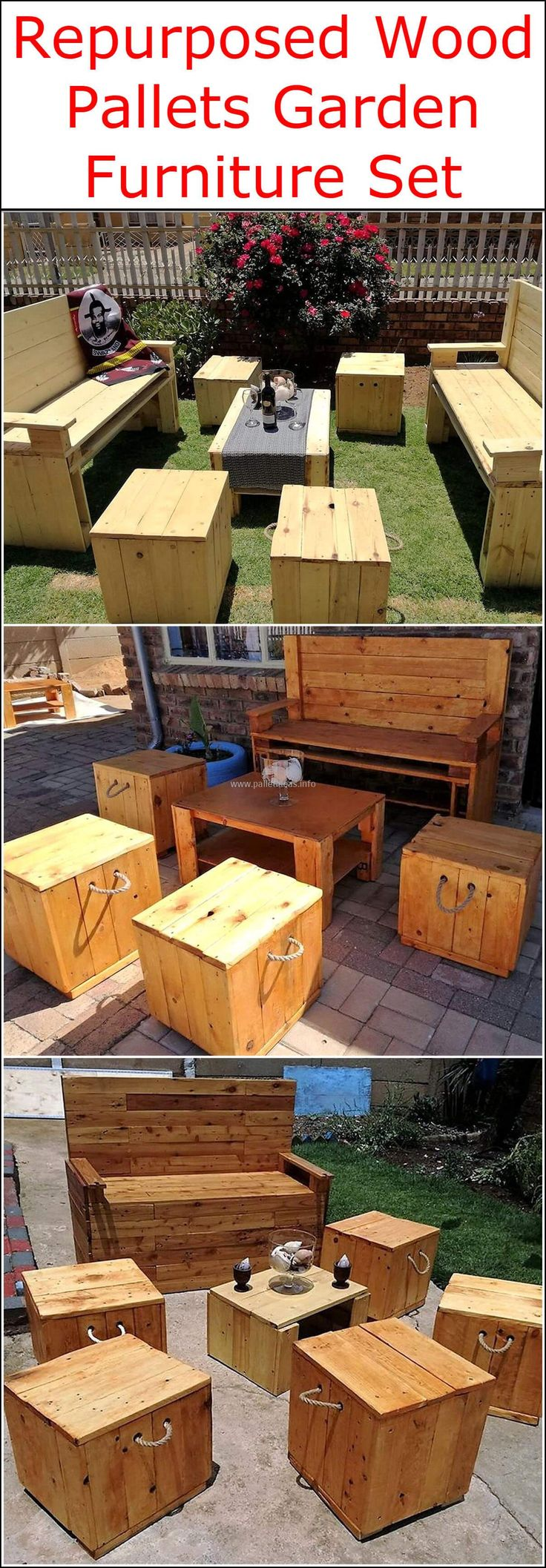 These outdoor furniture sets include stylish wooden benches, with artistically crafted recycled wood pallets benches and tables. The rustic furniture items can also turn into fancy creations with the use of fancy covers, cushions, and mattress. So let's get prepared to enhance the charming appearance of your garden area beyond your imaginations.