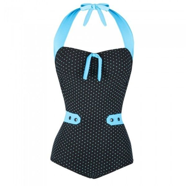Costume da Bagno Nero e Turchese Polka Dot ❤ liked on Polyvore featuring costumes, rockabilly, swimsuit, white costume and polka dot costume