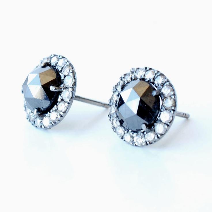 Rose Cut Black Diamond Stud Earrings, Silver Champagne Pave Diamond Border, Nixin. $1,820.00, via Etsy.