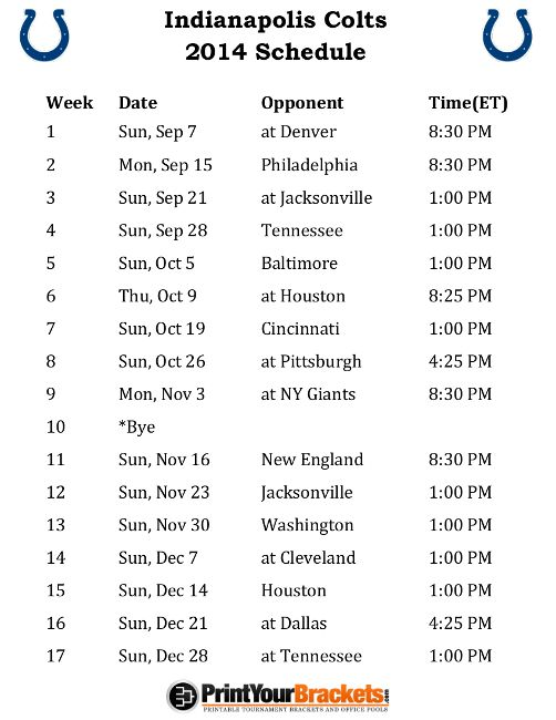 Printable Indianapolis Colts Schedule - 2014 Football Season